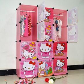 蓝木 12格卡通衣柜 Hello kitty 简易衣柜 儿童衣柜