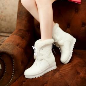 2014冬季新款全真皮棉靴 加厚羊羔毛保暖牛皮雪地靴 内增高女靴