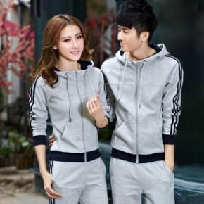 2014新款情侣运动套装秋装韩版开衫修身男女休闲卫衣套装