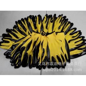 十三针尼龙黄纱黑浸胶劳保手套可按客户要求订做