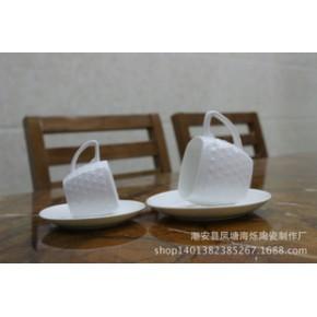 欧式陶瓷咖啡杯套装 网纹创意咖啡杯带碟 包邮
