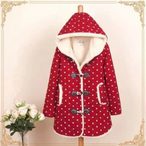 孕妇装 冬季新款波点羊羔绒加厚中长款连帽孕妇棉衣