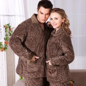 中老年人男女秋冬珊瑚绒法兰绒情侣夹棉睡衣套装加绒加厚家居服