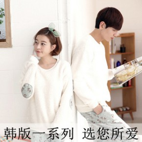 韩版情侣睡衣羊羔绒加厚套装 秋冬季男女士可爱水貂珊瑚绒家居服
