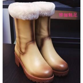 跑量款 2014欧美潮流新款雪地靴 精制圆头粗跟全牛皮中筒皮色女靴
