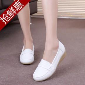 新款白色护士鞋 真皮套脚舒适休闲鞋 防滑牛筋坡跟女单鞋中跟女鞋