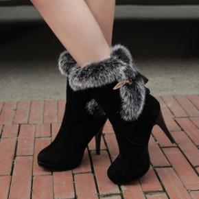 2014磨砂圆头高跟靴真兔毛细跟雪地靴套筒保暖女短靴