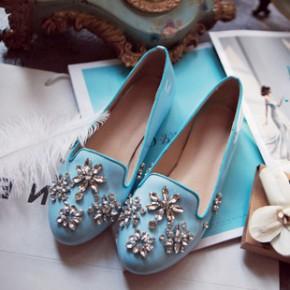 韩国时尚潮流水钻平底单鞋豆豆鞋百搭圆头真皮皓石低跟女鞋