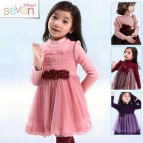 十五色韩国童装爆款 新年装加绒加厚连衣裙 女童全棉网纱裙公主裙