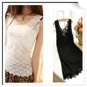 新款韩版夏装性感蕾丝背心女打底衫吊带背心女雪纺花边小背心单层