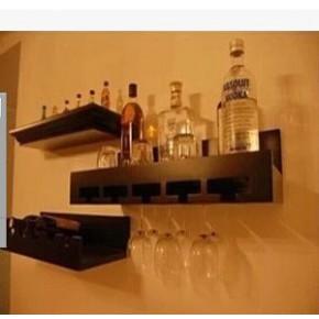 美式特价 壁挂隔板酒架实木酒架欧式红酒葡萄酒架酒杯架