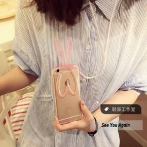 新款苹果5.5手机壳兔子耳朵支架带绳手机保护套