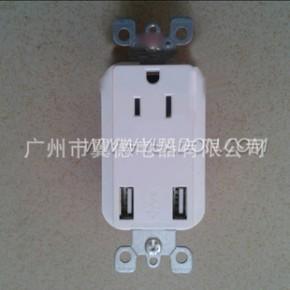 美标双USB插座 15A美标插座 一位3孔美规墙壁插座带USB