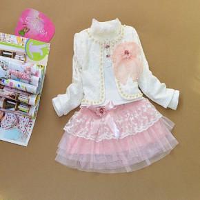 广东产地时尚韩版春装女童蕾丝钉珠三件套裙童装