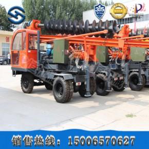 轮胎式光伏打桩机 机电两用打桩机 可以自动发电的打桩机