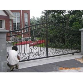 上海泾旌金属材料豪华别墅,厂房,等等 。热镀锌电动铁艺大门