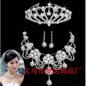 梦达饰品 M-23奢华水钻珍珠新娘项链