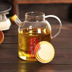 文孔茶具1000ml-1800ml竹盖玻璃油壶
