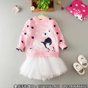 女童毛衣儿童圆领加厚针织秋冬款童装宝宝套头棉线衫