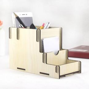 DIY创意木质手机收纳盒 文具收纳盒 物品收纳