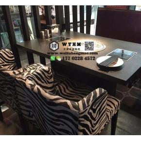 天津火烧石火锅桌 天津烤肉桌 烤涮一体桌椅组合