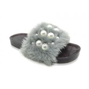 厚底珍珠毛绒果冻拖鞋批发 一字女室内外休闲凉拖鞋