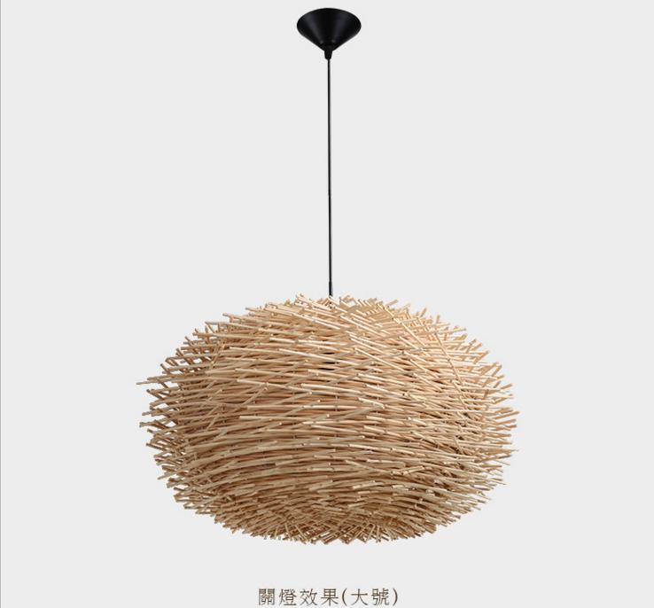 创意竹藤鸟巢吊灯现代个性LED吊线灯灯饰
