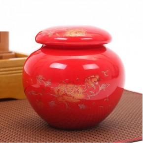 手绘陶瓷茶叶罐密封罐青瓷存储茶叶桶茶叶盒