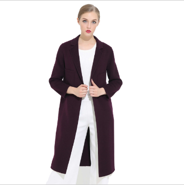 戴瑞斯 时尚修身显瘦中长款双面羊绒呢女士大衣