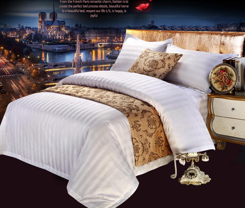 宾馆涤棉缎条加密被套床单床上用品四件套价格便宜