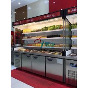 麻辣烫菜品保鲜展示柜,上部冷藏箱体冷冻两用冰箱