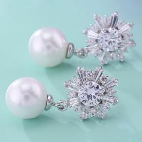 雪花珍珠女性精美耳环 饰品定制工厂 质量上乘