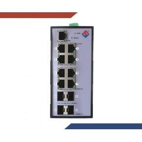 工业级全千兆4光8电网管型SFP模块导轨式交换机
