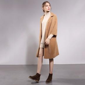 女装简约大气水貂绒外套女神 中长款九分袖外套
