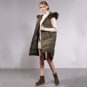 羽绒保暖马甲女士背 加长款前短后长连帽鸭绒外套