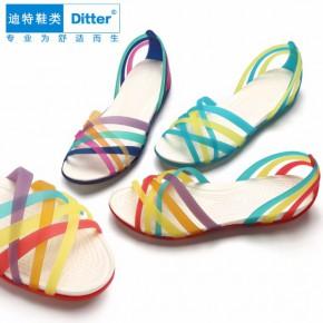 迪特洞洞鞋七彩塑料凉拖鞋女手工编织鱼嘴沙滩鞋批发