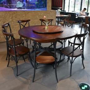 火锅桌 圆餐桌 工业风实木餐厅桌椅 厂家优势