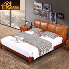 北欧白蜡木实木皮床现代1.8米双人真皮床主卧婚床