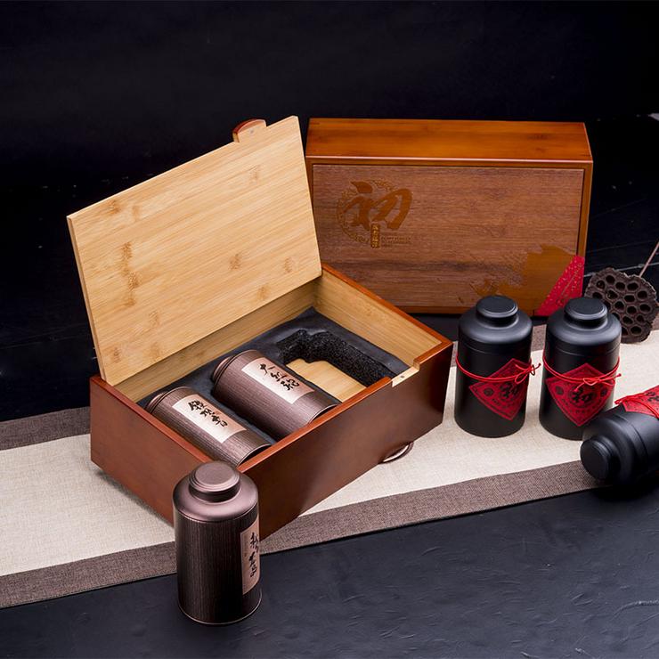广州包装 马口铁1686竹盒一斤半茶叶礼盒批发