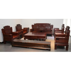 西安仿古实木沙发、中式红木沙发、老榆木沙发定做