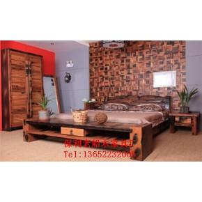 老船木双人床家用全实木床新中式酒店卧室家具别墅床